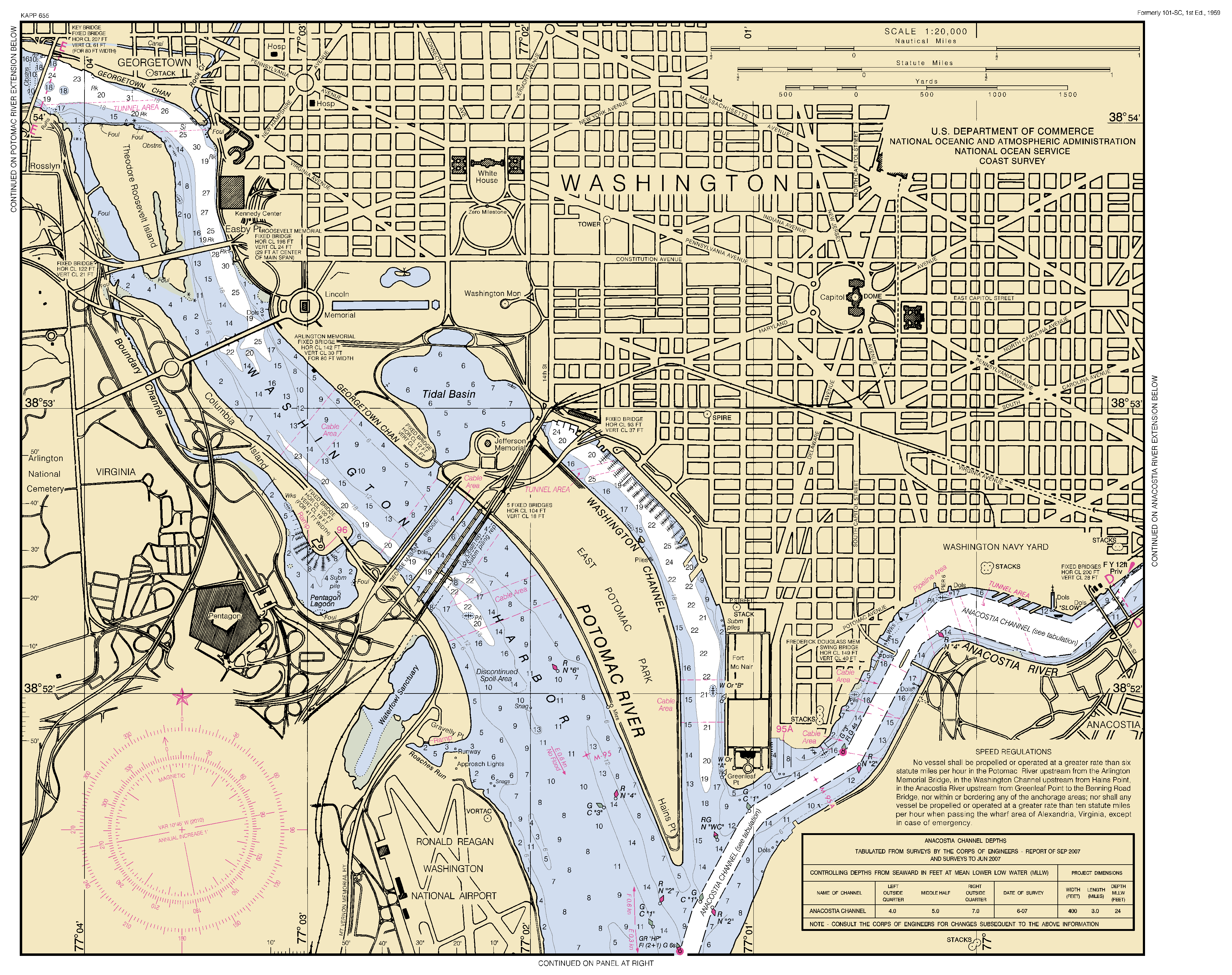 POTOMAC RIVER WASHINGTON DC MARYLAND AND VIRGINIA Nautical Chart - Washington dc map download