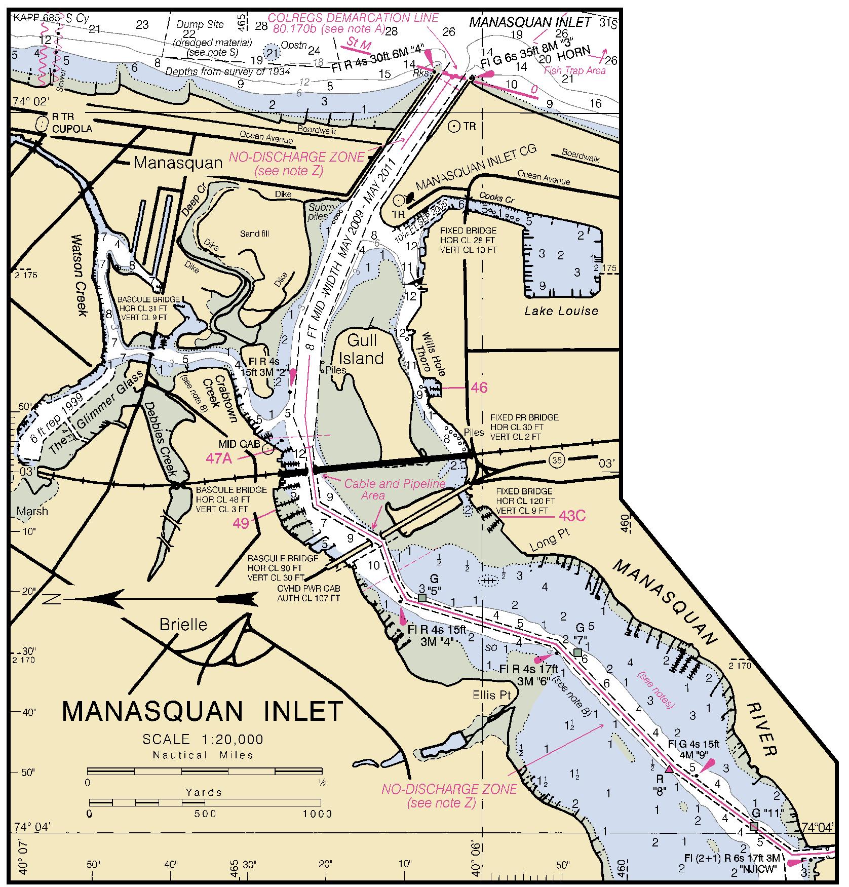 MANASQUAN INLET Nautical Chart   Charts  Maps