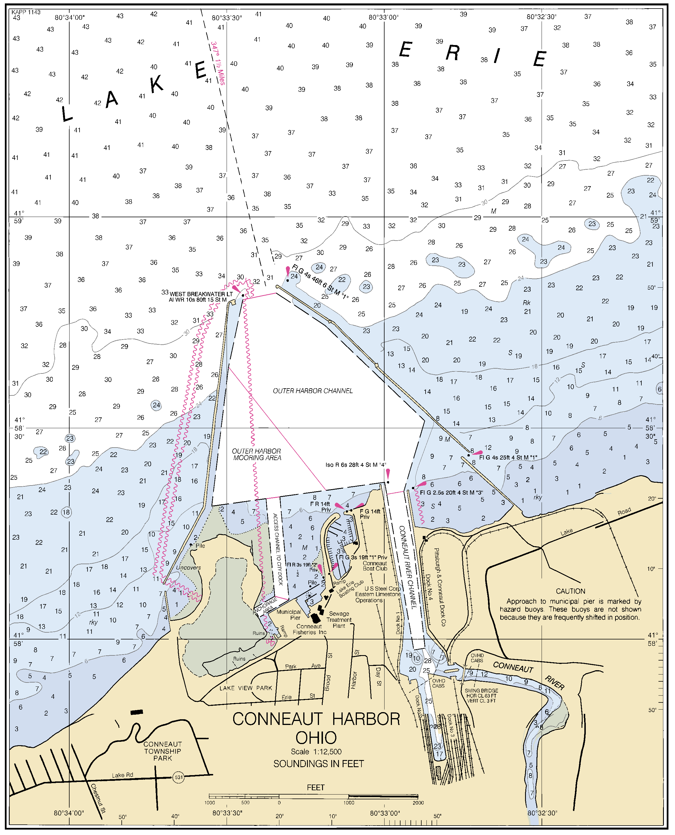 CONNEAUT HARBOR OHIO nautical chart - ΝΟΑΑ Charts - maps
