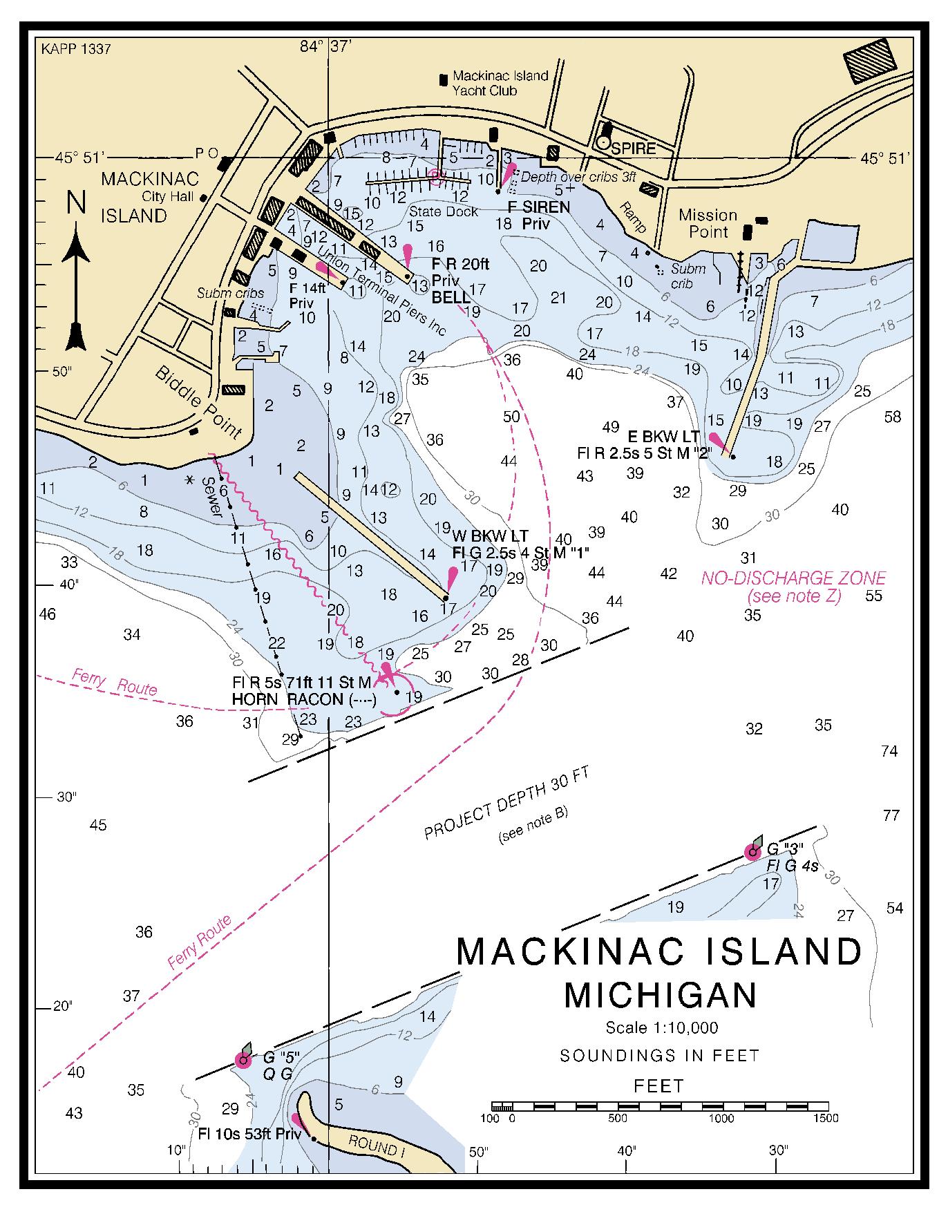MACKINAC ISLAND MICHIGAN Nautical Chart   Charts  Maps