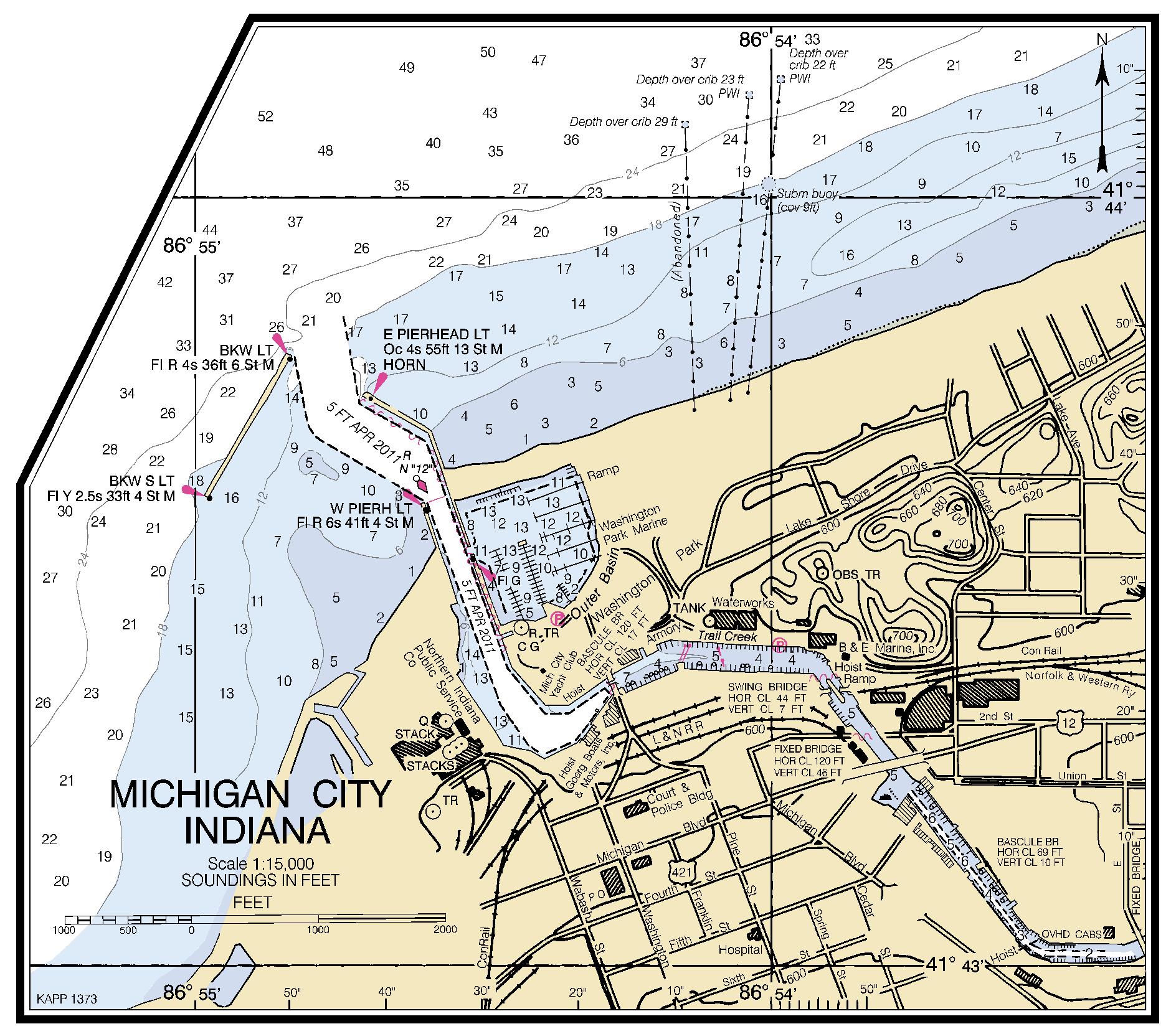 MICHIGAN CITY INDIANA Nautical Chart   Charts  Maps
