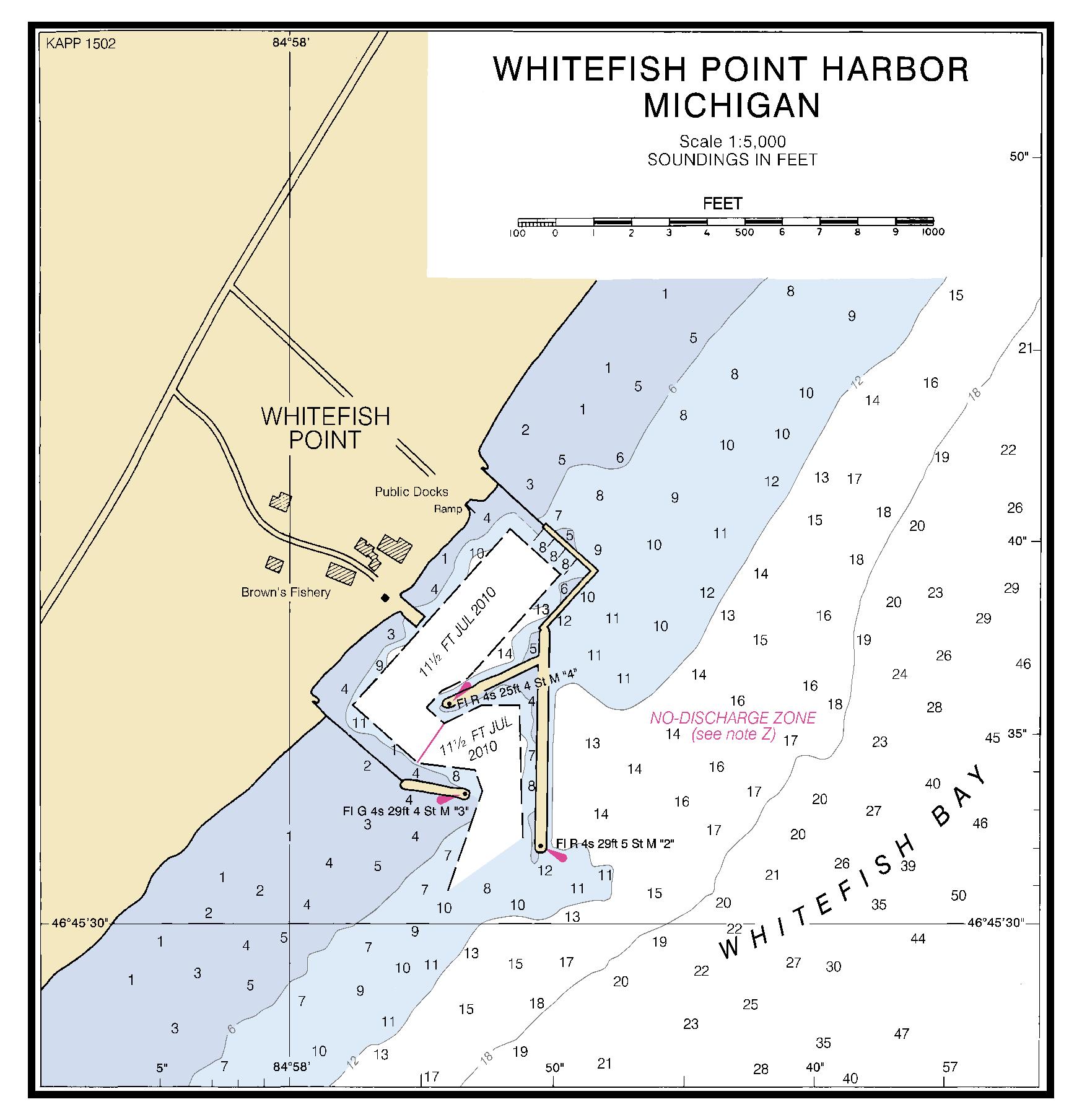Whitefish point harbor michigan nautical chart for White fish point